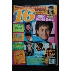 16 Magazine 1987 August Incomplet Kirk Jon Bon Jovi CB Barnes Menudo's Sergio