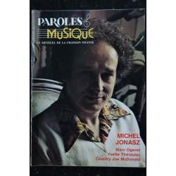 Paroles & Musique 1982 12 n° 25 Michel JONASZ - Marc Ogeret - Yvette Théraulaz - Country Joe McDonald- 44 pages