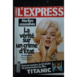 L'Express 2467 Marilyn MONROE COVER + 18 p. - La vérité sur un crime d'Etat -15 au 21 octobre 1998
